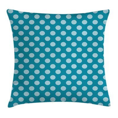 Teal Polka Dots Soft Sea Cushion Pillow Cover Size: 24 x 24