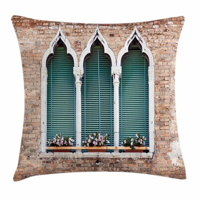 Ancient Gothic Windows Square Pillow Cover Size: 16 x 16