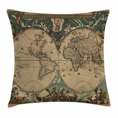 World Map Pillow Cover Size: 24 x 24
