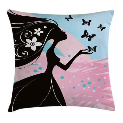 Butterfly Floral Head Square Pillow Cover Size: 24 x 24