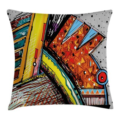 Funky Abstract Music Square Pillow Cover Size: 16 x 16