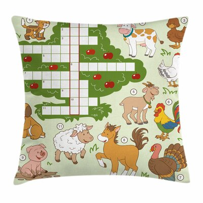 Puzzle Farm Animals Square Cushion Pillow Cover Size: 20 x 20
