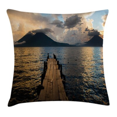 Wooden Pier on Lake Cushion Pillow Cover Size: 24 x 24