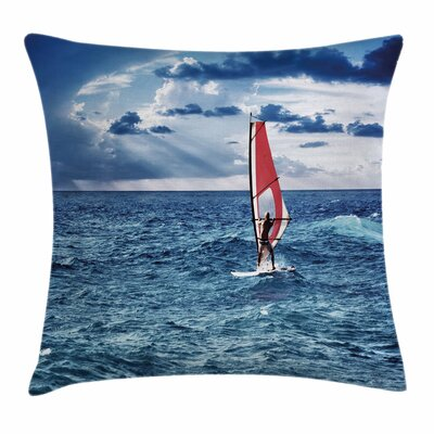 Windsurfer on Sea Square Cushion Pillow Cover Size: 18 x 18