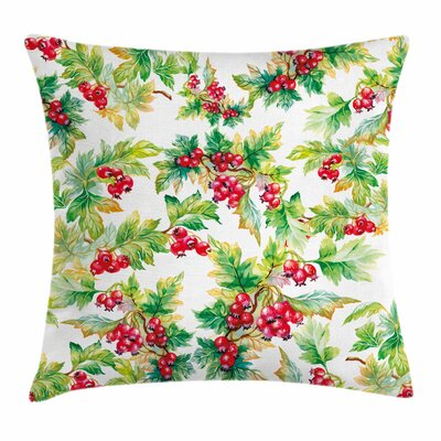 Watercolor Berries Winter Square Pillow Cover Size: 16 x 16