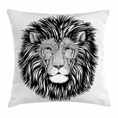 Wild Hipster Lion Glasses Square Cushion Pillow Cover Size: 18 x 18