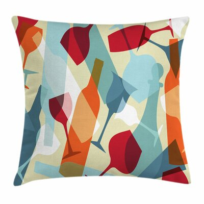 Wine Modern Art Icons Square Pillow Cover Size: 16 x 16