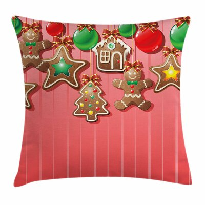 Gingerbread Man Symbolic Pastry Square Pillow Cover Size: 20 x 20