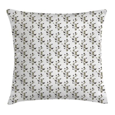 Curvy Plants Dark Leaves Cushion Pillow Cover Size: 18 x 18