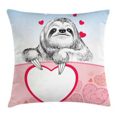Sloth Romantic Pillow Cover Size: 18 x 18