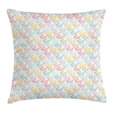 Classic Glasses Square Cushion Pillow Cover Size: 18