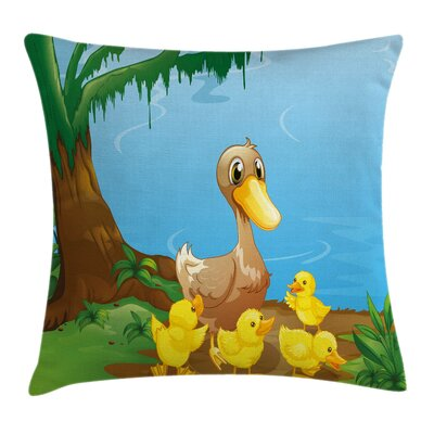 Cute Duck and Ducklings Square Pillow Cover Size: 18 x 18