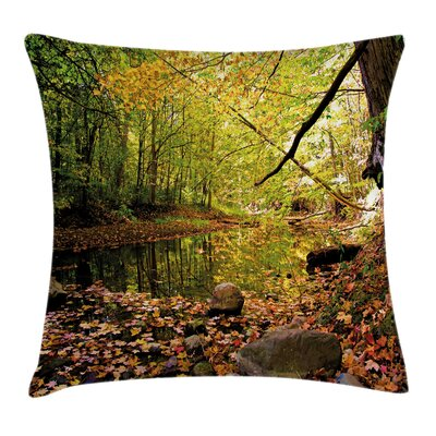 Pine River in Autumn Square Pillow Cover Size: 24 x 24