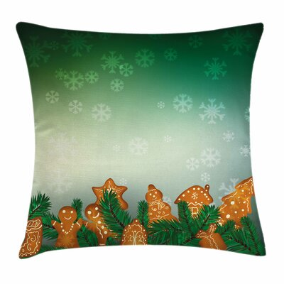 Gingerbread Man Xmas Cookies Square Pillow Cover Size: 18 x 18