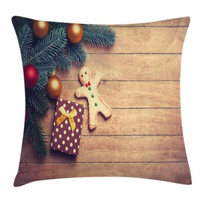 Gingerbread Man Cookie Present Square Pillow Cover Size: 18 x 18