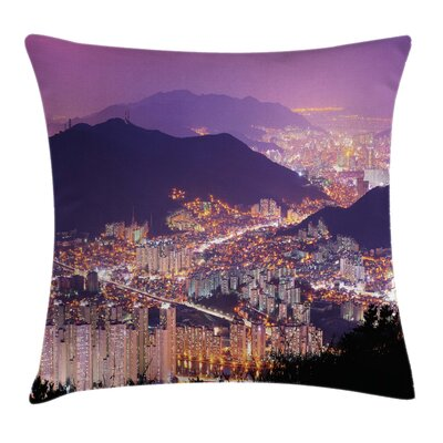 Skyline of Busan Korea Square Pillow Cover Size: 18 x 18