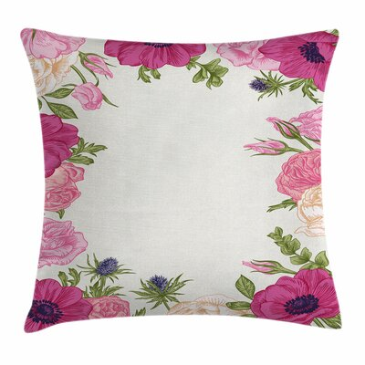 Anemone Spring Nature Square Cushion Pillow Cover Size: 24 x 24, Color: White/Pink