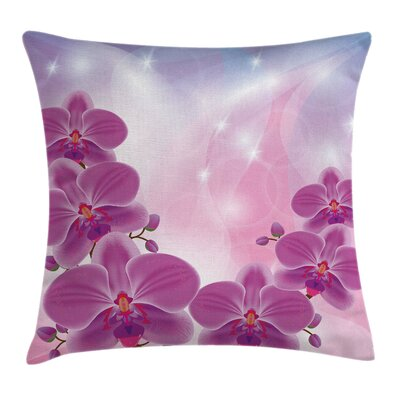 Exotic Orchid Flowers Square Pillow Cover Size: 16 x 16