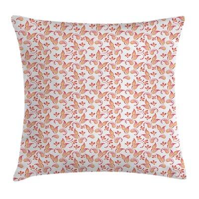 Coral Leaves Florets Petals Cushion Pillow Cover Size: 24 x 24