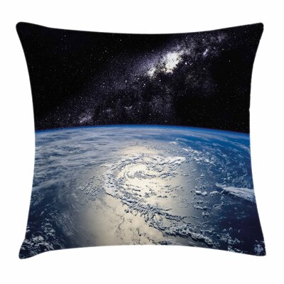 Earth Majestic Universe Nebula Square Pillow Cover Size: 16 x 16