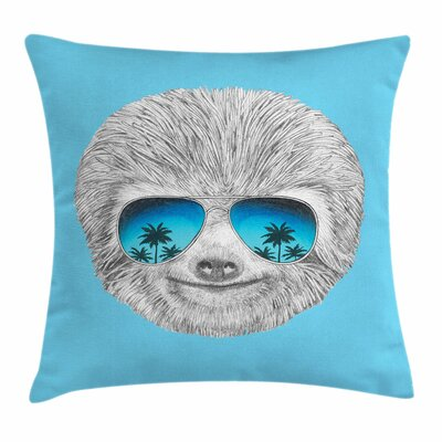 Sloth Beach Hipster Square Pillow Cover Size: 18 x 18