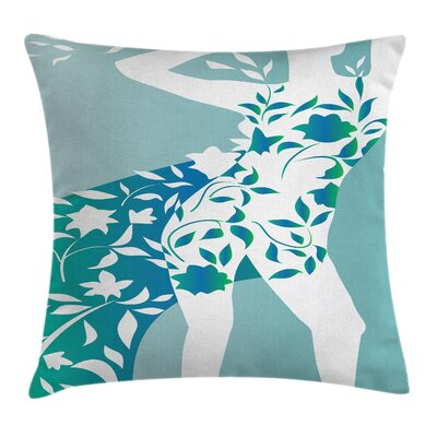 Girl Flower Petal Leaves Cushion Pillow Cover Size: 20 x 20