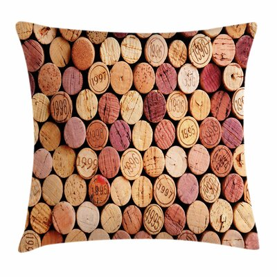 Wine Random Used Wine Corks Square Pillow Cover Size: 24 x 24