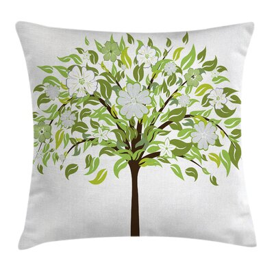 Tree Blossoms Cushion Pillow Cover Size: 24 x 24