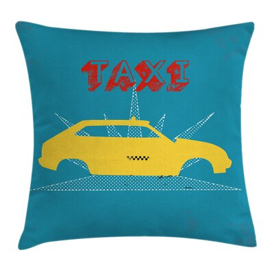 Old Cab Grunge Typography Cushion Pillow Cover Size: 18 x 18