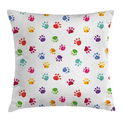 Cute Animal Footprints Square Pillow Cover Size: 18 x 18