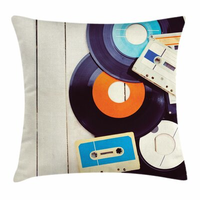 Gramophone Records Audio Square Cushion Pillow Cover Size: 18 x 18