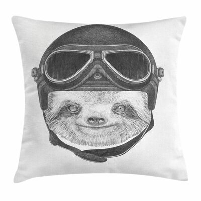Sloth with Vintage Helmet Square Pillow Cover Size: 18 x 18