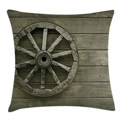 Wheel Antique Carriage Square Pillow Cover Size: 18 x 18