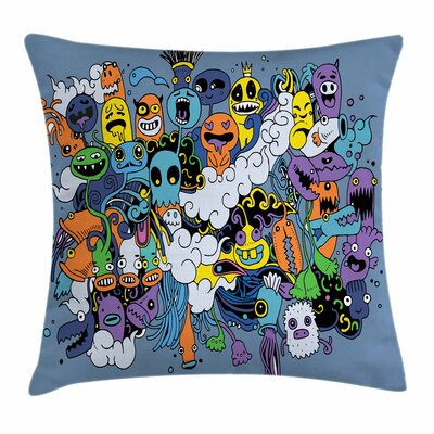Funky Monsters Society Square Cushion Pillow Cover Size: 18