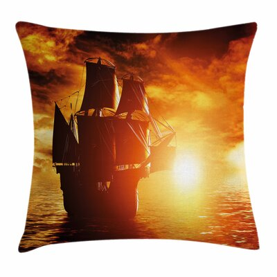 Pirate Ship Ancient Ship Sunset Square Cushion Pillow Cover Size: 16 x 16