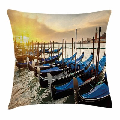 Gondolas Line on Water Square Pillow Cover Size: 18 x 18