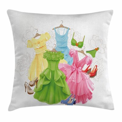 Heels and Dresses Girl Wardrobe Square Pillow Cover Size: 16 x 16