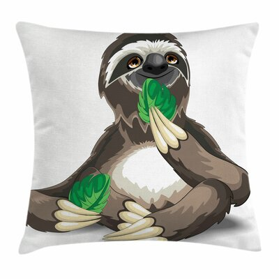 Sluggish Idle Sloth Square Pillow Cover Size: 18 x 18