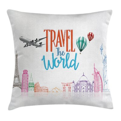 Travel World Lettering Cushion Pillow Cover Size: 16 x 16