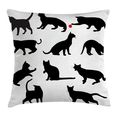 Cat Ball Animal Pet Kittens Cushion Pillow Cover Size: 16 x 16