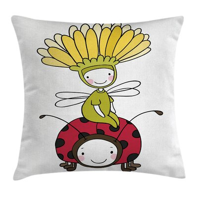 Flower Fairy and Ladybug Square Pillow Cover Size: 16 x 16