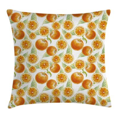 Juicy Orange Fruits Art Square Pillow Cover Size: 18 x 18