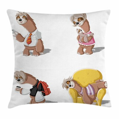 Lazy Sloth Family Cartoon Square Pillow Cover Size: 24 x 24