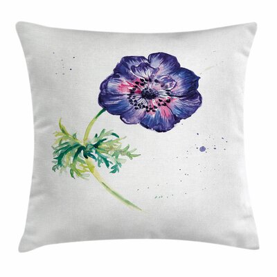 Anemone Branch of Square Cushion Pillow Cover Size: 24