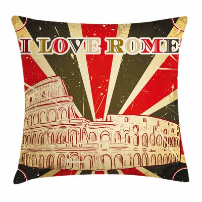 Italian Rome Lettering Cushion Pillow Cover Size: 18 x 18