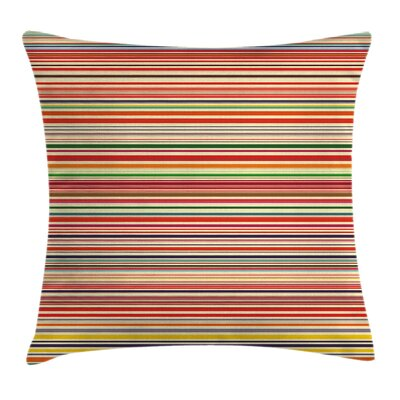Horizontal Stripes Cushion Pillow Cover Size: 18 x 18