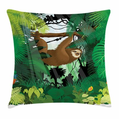 Sloth Vibrant Rainforest Plants Square Pillow Cover Size: 16 x 16