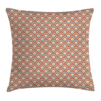 Orange Curvy Waves Overlapping Square Pillow Cover Size: 18 x 18