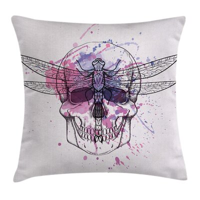 Skull Dragonfly Grunge Square Pillow Cover Size: 16 x 16