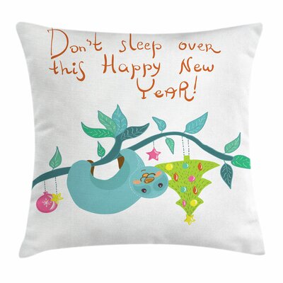 Sloth Childish Doodle New Year Square Pillow Cover Size: 24 x 24